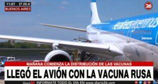 Llegó el avión de Aerolíneas Argentinas con la segunda tanda de la vacuna Sputnik V